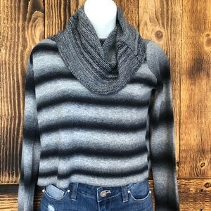 BB Dakota Cowl Neck Cropped Striped Sweater - S